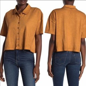 Free People Copper Weekend Rush Button Up Top NWT